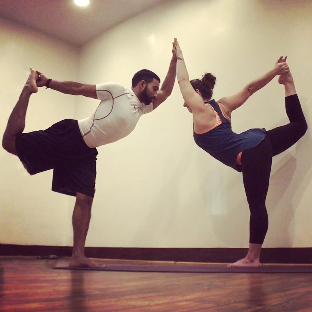 Double Dancer Yoga Pose for two people
