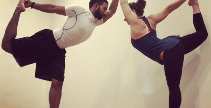 Double-Dancer-Yoga pose for two people