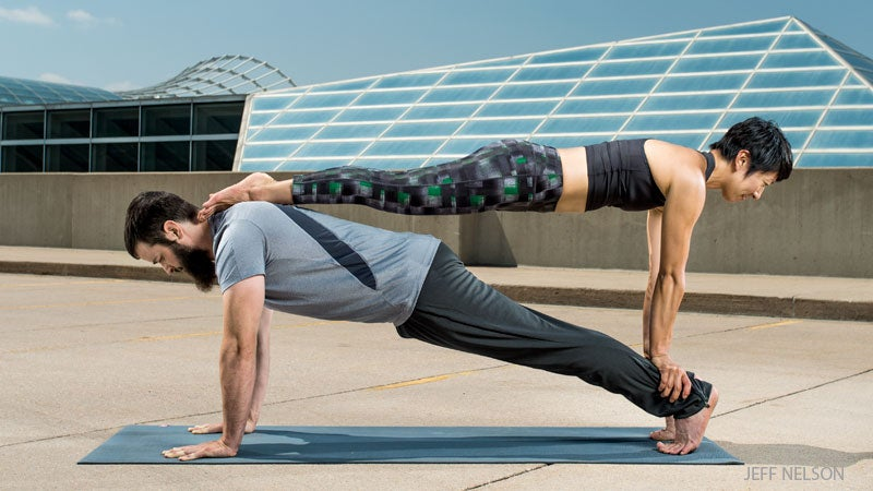 Double Plank Yoga Pose for couples
