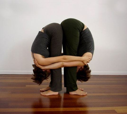 Double Standing Forward Fold yoga poses for two people